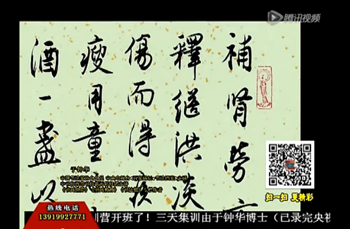 甘肃电视台《收藏》书法精品赏评-于钟华